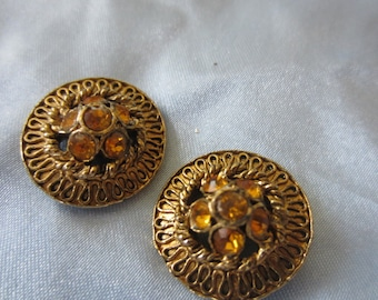 Vintage Button - 2 beautiful, matching amber/ topaz rhinestone embellished, antique bronze/gold finish metal (lot dec 200)