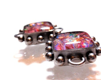 Faux Fire Opal Connector Beads Resin Cast With Ice Resin Oxidized Silver Gunmetal Ball Base Perfect for Stackable Bracelets Stackables A1