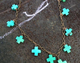 Turquoise crosses on antiqued copper chain necklace  hand forged clasp originally 54 dollars now 27 summer sale