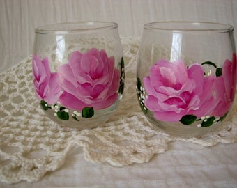 Glass Votive Holder Candle Hand Painted Pink Roses Home Decor
