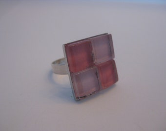 25% OFF Sale Light Pink and Coral Glass Mosaic Cocktail Ring