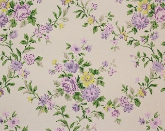 1960s Vintage Wallpaper Purple and Yellow Rose Floral Trellis Design by the Yard
