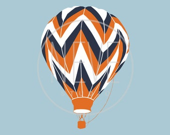 Chevron Hot Air Balloon Art Print, transportation nursery art by nevedobson, 13 x 19 - choose your colors