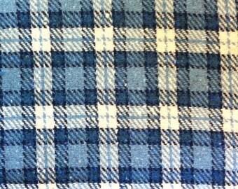 "Blue Plaid Wool 58"" wide 1 1/2 yards"