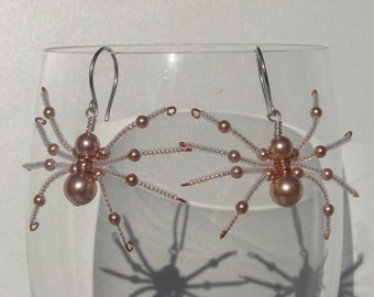 Halloween Spider Pearl and Seed Bead Earrings