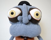 Large plush art doll with removable eye balls, horror soft sculpture