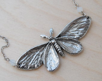 Majestic Silver Moth Necklace