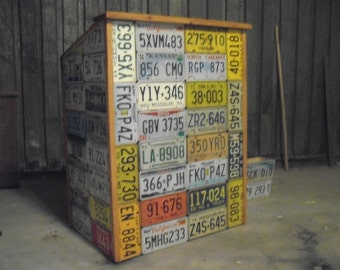 License plate wrapped hostess station - man cave Bar