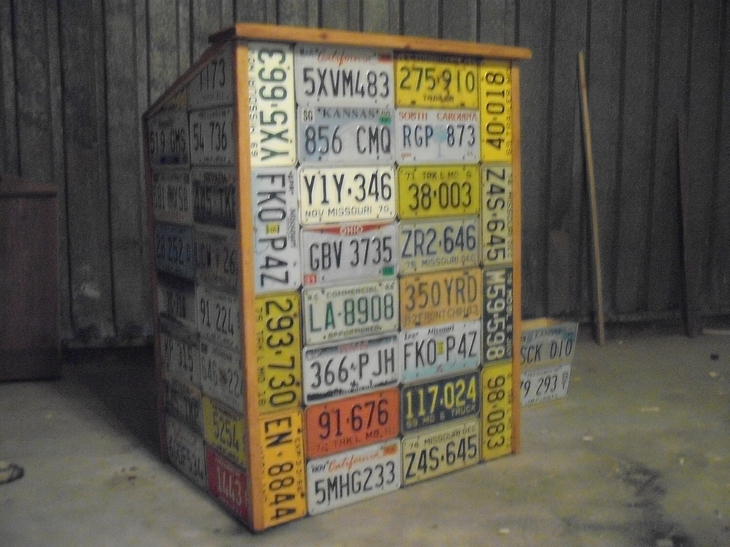 Man Cave Items Wholesale : License plate wrapped hostess station man cave bar
