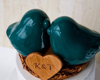 Teal Green Love Bird Cake Topper