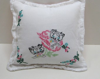 Baby Pillow With Vintage Embroidered Kittens 12 x 12