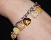 Vintage Sterling Puffy Hearts Charm Bracelet Jasper Gemstones