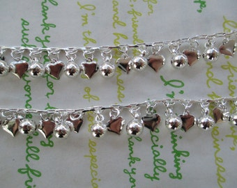 Heart decorative charm chain Silver color plated 50cm New item