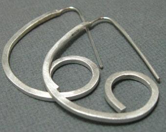 Curly semi circular post hoop earrings, handmade hoops, semi circular contemporary hoops, artisan silver hoops, minimalist hoop earrings
