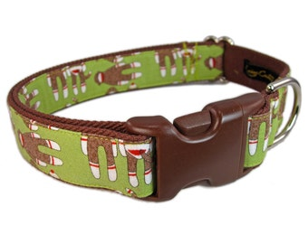 Custom Dog Collars - Cute Dog Collar - Green Dog Collar with Sock Monkeys!