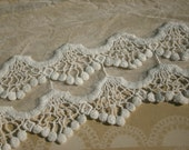 "Cluny Lace Tulle - Double Layer Cluny Trim Ivory - 7"" Wide - 1 Yard"