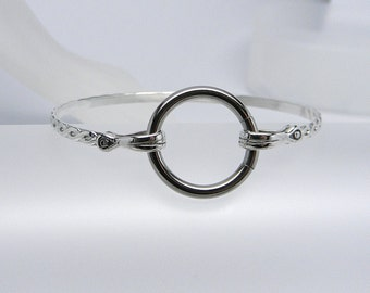 Made To Size Twisted & Tied No2 Rope Motif Sterling Silver Slave Cuff with SS Captive Segment Ring Clasp