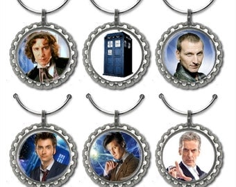 Doctor Who Bottle Cap Wine Glass Charms Markers