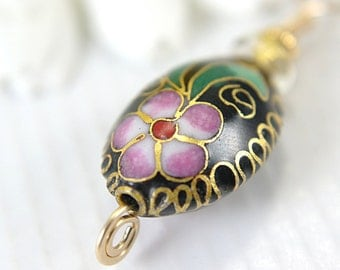 CLEARANCE Black oval cloisonne pendant wire wrapped 14k gold filled flower motif beaded asian oriental pink 1 inch enameled one of a kind