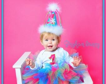 3 Pc. Set, NEW Winter One-derland Birthday Tutu Set , Frozen  Birthday  Hat,  Bodysuit and Tutu, by Gingham Bunny