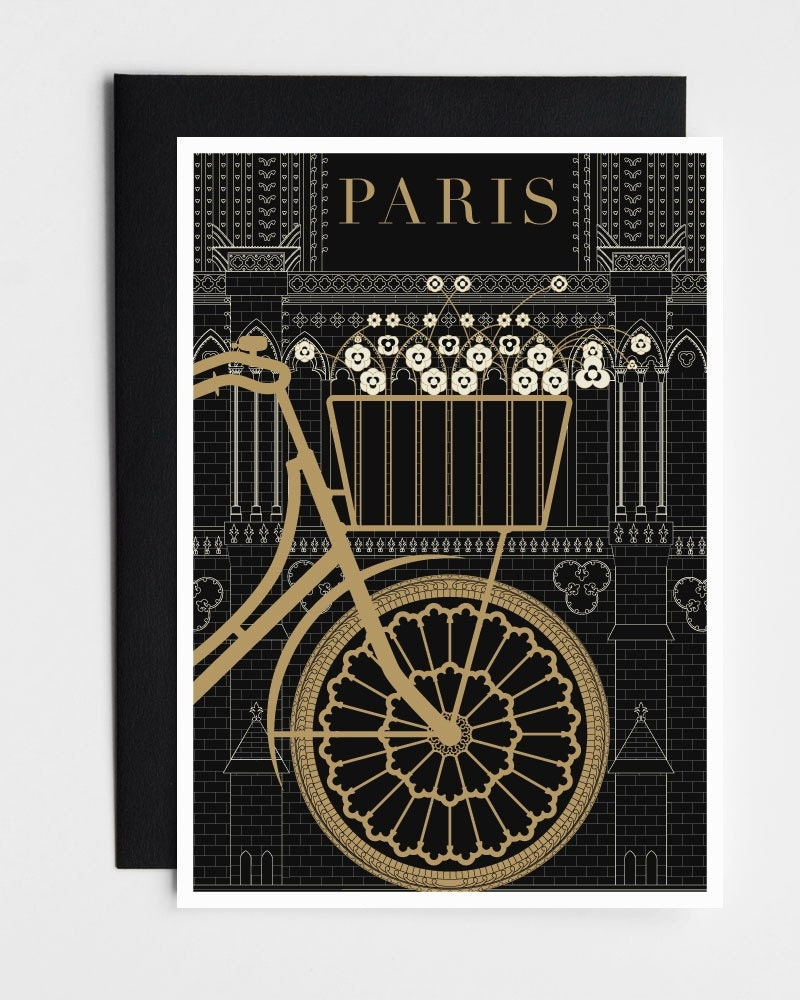 Paris Note Card Set, Paris Greeting Cards, Greeting Card Set, Blank Notecards, Black and Gold Notecards, Gift for Her, Stocking Stuffer