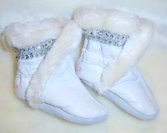soft leather baby boots, Handmade soft soled booties- winter lined leather booties- children boots-bling booties