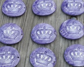 Pottery Cuff Bead, The little Elli with a crown in Purple