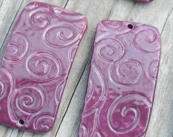 Blueberry Swirl Pottery Bead