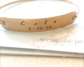 Personalized Gold Fill Bangle - Hand Stamped Birthdates