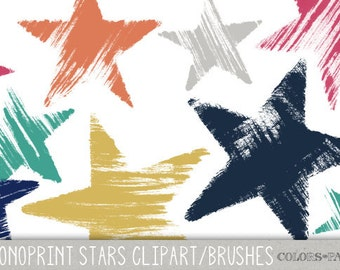 Handmade Monoprint Stars Clipart, Digital Brushes and Stamps. Set of 9 different stars. Personal and Limited Commercial Use.