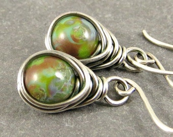 Dangle Earrings, Wire Wrap Earrings,  Earthy Earrings, , Eco Friendly Jewelry Gifts for Her