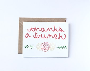 Thank You Cards Set Thanks A Bunch Eco Friendly Recycled Paper Greeting Cards Hand Lettered Card Floral Print Thank You Notes