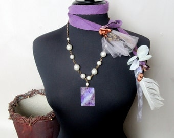 Misty Orchid Feather Lariat