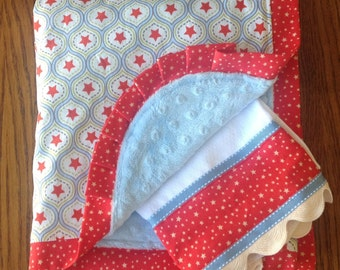 ON SALE - Stars Minky Blanket and Burp Cloth Set...Ready to Ship