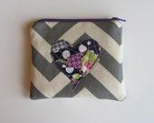CUSTOM - Large Zipper Bag - Heart with Grey Chevron, OOAK Grey, Pink, Purple, Green Heart  Make up Bag