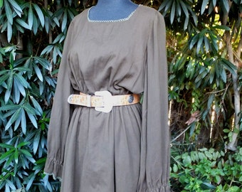 Vintage 1960s/70s Dress / Super Cute Boho Dress / Brown Dress by Jonathan Logan / Medium