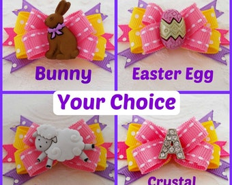 Dog Bow- Pink Yellow and Lavender Easter Boutique Dog Bow