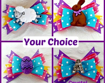 Dog Bow- Blue, Pink, Yellow and Lavender Easter Boutique Dog Bow