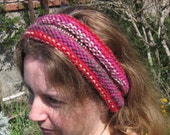 On Clearance Handmade Knit Headband Pink Red Brown Grey and Cream