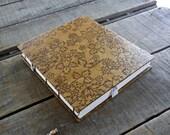 Medium Blank Tan Lokta Floral Journal, Medium Coptic Stitch Hard Cover Art Journal, Medium Handmade Sketchbook, Tan Wedding Guest Book
