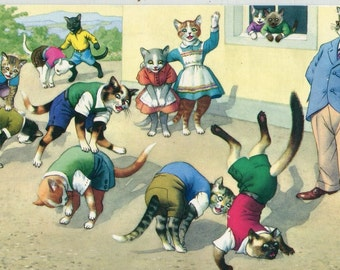 Mainzer postcard - Play at the School. Mainzer dressed cats vintage Postcard no. 4878 vintage postcard, SharonFosterVintage