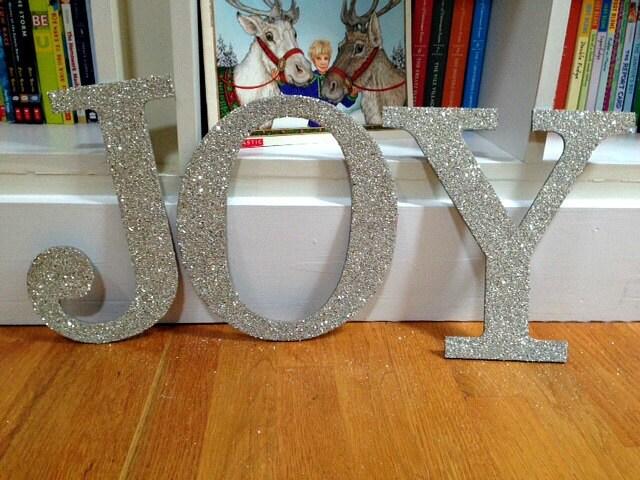 JOY German Glass Glitter, Christmas Holiday Decor, Glittered Letters, Holidays, German Glass Glitter, Housewares, Home Decor, Handmade
