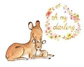 Nursery Art -- BABY MINE DEER -- Art Print
