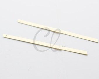 12 Pieces Raw Brass Rectangle Pendant - 85x4mm (1926C-T-249)