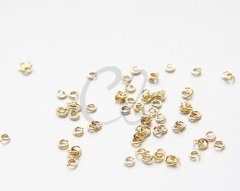 2.5 Grams Shiny Gold Plated  Brass Jump Rings-3.2mm (22 Gauge) (1952C-I-397)