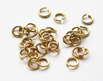200 Pieces Raw Brass Opened Jump Rings-6mm (18 Gauge) (318C-I-420)