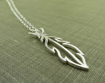 Sterling Silver Feather Necklace - Dainty and Delicate Open Feather Charm - Simple Modern Minimal Jewelry