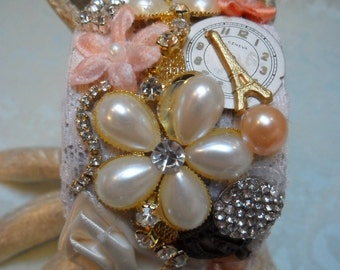 50% OFF - CUFF Bracelet Collage of Mixed Media Romantic - Cuff - In shades of Taupes, Peach, Pink and Cream