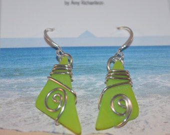 Beach inspired cut glass and wire wrap earrings-bright green glass spring jewelry-maine made wearable art
