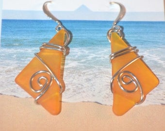 Maine Made Earrings-Cut Glass and Wire Wrap Earrings-Orange glass jewelry-wearable art-tumbled glass wire jewelry